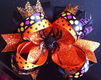 Halloween boutique bow, Halloween stacked boutique bow, baby headband, Halloween baby headband, baby bow