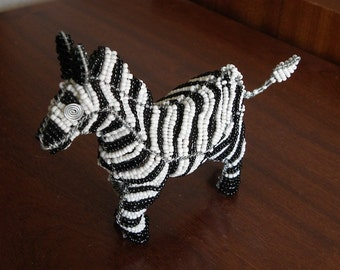 African Beaded Wire Animal Sculpture - ZEBRA SMALL - White and Black