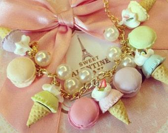 Bracelet Sweet Pastel Ice Cream Polymer clay L6.5 inch - BC065