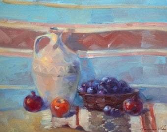 Still life, oil on canvas, original painting, handmade artwork, classic art, kitchen art, 18 x 24 in, traditional, colorful