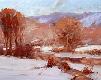 Landscape, winter, oil on canvas, original painting, classic art, handmade artwork, 15 x 23 in, impressionism, nature,