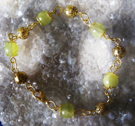 Handmade Gold Bracelet with Green Jade & Gold Bali Style by IreneDesign2011