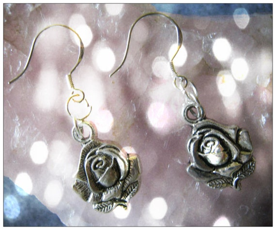 Handmade Silver Hook Earrings with Roses by IreneDesign2011
