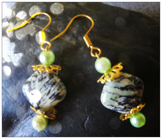 Handmade Gold Hook  Earrings with Striped Agate Squares & Green Pearl by IreneDesign2011