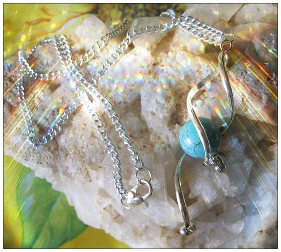 Beautiful Silver Necklace with Turquoise & Silver Hearts