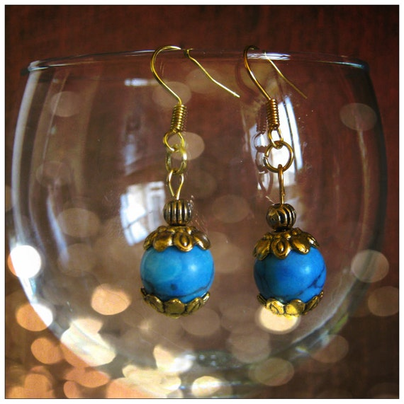 Beautiful Handmade Gold Hook Earrings with Turquoise by IreneDesign2011
