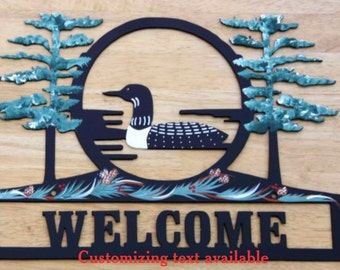 Loon Sign - Metal - Welcome - Personalized - Folkart Painted
