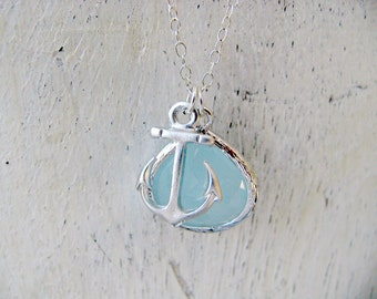 925 Sterling Silver Alice Blue Necklace With Anchor Blue Necklace Anchor Necklace Anchor Jewelry Beach Jewelry pastel Blue gift for her