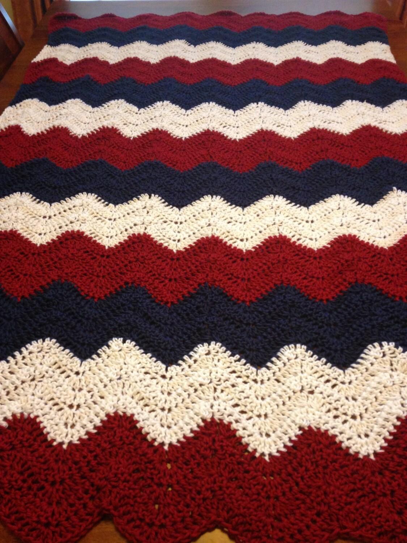 American Flag Colors Crochet Throw