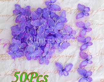 50pcs Wired Mesh Stocking Glitter Butterflies - Purple
