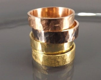 bronze ring brass ring one hammered bronze or brass ring