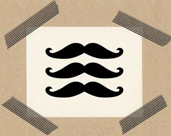 Stempel Mustache / Schnurrbart / Naturkautschuk auf Buchenholz 3x3 cm