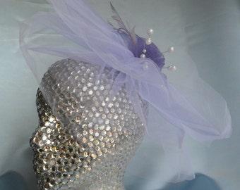 Daniele- Color Veil,  Wedding Veil, Wedding Hair Accessory, Wedding Hair Piece,  Flower Veil, Short Veil, Free Shipping