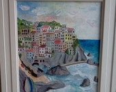 CINQUE TERRE ITALY Village Town City Italian Oil Painting Oils Unframed Stretched Canvas Original Giclee Unframed