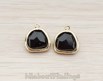 FST121-G-BL // Glossy Gold Plated Nugget Framed Black Stone Pendant, 2 Pc