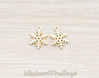 PDT379-01-MG // Matte Gold Plated Small Snow Flake Pendant, 2 Pc
