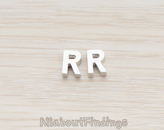 PDT198-R-MR // Matte Original Rhodium Plated 3D Initials Pendant, 2 pc