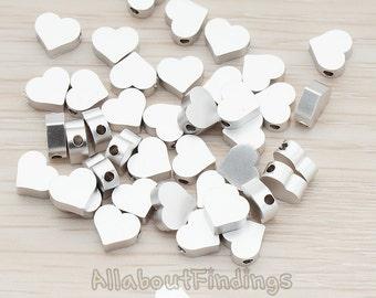 BDS919-02-MR // Matte Original Rhodium Plated Sharpen Heart Metal Bead, 6 Pc