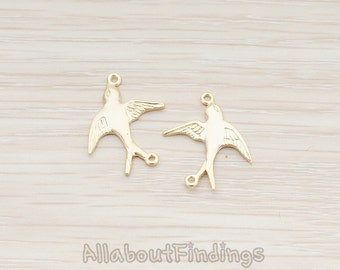 CNT014-MG // Matte Gold Plated Barn Swallow Bird Connector, 2 Pc