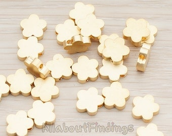 BDS942-02-MG // Matte Gold Plated Small Cloud Flower Metal Bead, 4 Pc