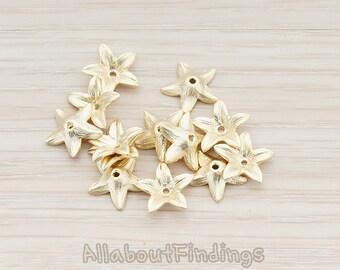 BSC182-MG // Matte Gold Plated Flower Bead Cap, 4 Pc