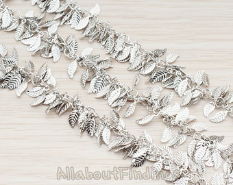 CHN050-R // Glossy Original Rhodium Plated Leaf Chain, 1 Meter.