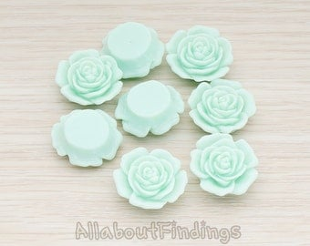 CBC038-MT // Mint Colored Mary Rose Flower Flat Back Cabochon, 4 Pc
