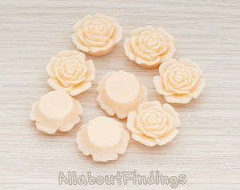 CBC038-AP // Apricot Colored Mary Rose Flower Flat Back Cabochon, 4 Pc