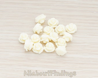 CBC149-CR // Cream Colored Carved Rose Flower Flat Back Cabochon, 8 Pc