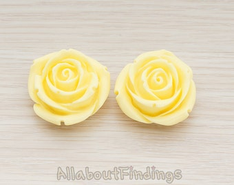 CBC152-BU // Butter Colored Chunky Rose Flower Flat Back Cabochon, 2 Pc