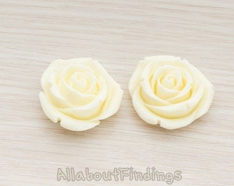 CBC152-CR // Cream Colored Chunky Rose Flower Flat Back Cabochon, 2 Pc