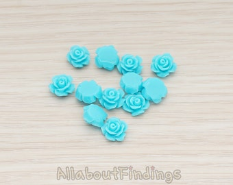 CBC157-04-TU // Turquoise Colored XSmall Angelique Rose Flower Flat Back Cabochon, 8 Pc