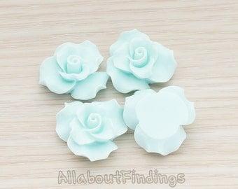 CBC191-LB // Light Blue Colored Bloom Rose Flower Flat Back Cabochon, 4 Pc