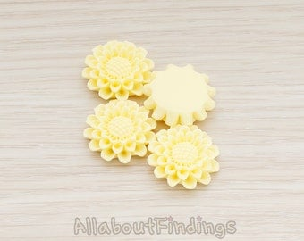 CBC203-01-BU // Butter Colored Medium Sunflower Flat Back Cabochon, 4 Pc
