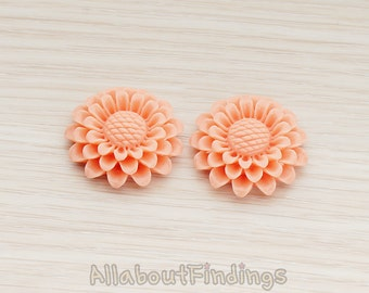 CBC203-CO // Coral Colored Large Sunflower Flat Back Cabochon, 2 Pc