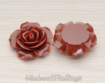 CBC157-07-CH // Chocolate Colored 35mm Angelique Rose Flower Flat Back Cabochon, 2 Pc