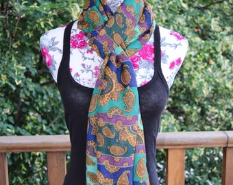 Vintage 90s Navy Teal Purple ECHO Exclusive Private Label Gold Paisley Print Scarf