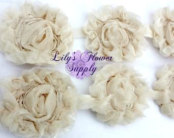 Ivory Tulle Shabby Rose Trim - Shabby Flower trim - Shabby Flower - Shabby Trim - Rose Trim - Wholesale