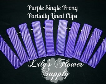 Purple Lined Clips - Single Prong - Partially Lined Clips - Alligator Hair Clips - Set of 10 - 45 mm