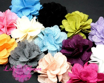 Burlap Flowers - Choose Colors - Burlap Flower - 3 Inches - Fabric Flower - Burlap Rose - Rolled flowers - Wholesale - supply - Wedding