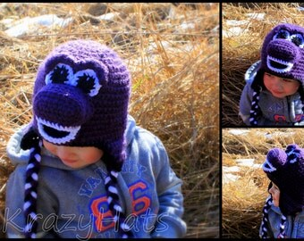 Crochet Dino hat.Size:3-4y.old