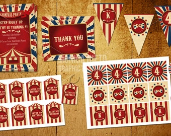Custom Vintage Carnival Circus Birthday Party Collection