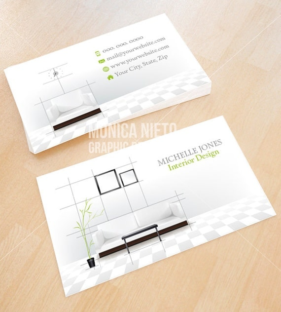 Custom printable interior design business card template - Business name for interior design company ...