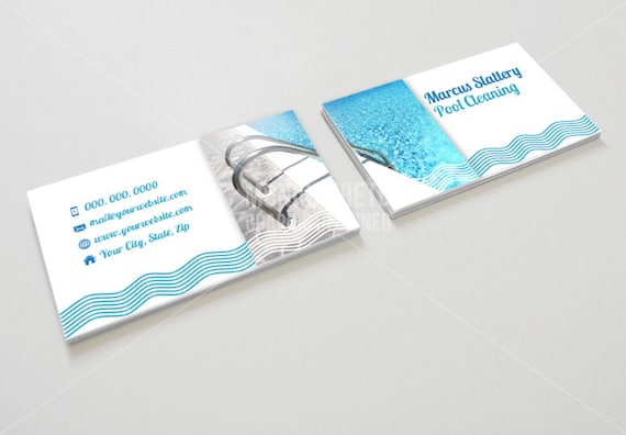 Printable pool cleaning business card pool maintenance for Pool service business cards