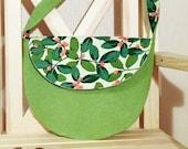 Floral Handbag, Shoulder bag, Medium Hand Bag,  Messenger  Bag, Tote Bag, Tweed bag, floral print bag in green