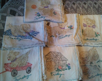set of 7 days of the week dish towels