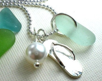 Sea Glass Beach Glass Flip Flop Sea Glass Jewelry Seaglass Necklace