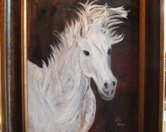 "14"" x 18"" WHITE HORSE - Rich Elegance - Original Oil Acrylic Painting on Stretched Canvas - One-of-a-Kind"