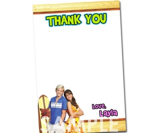 Teen Beach Movie Thank You Card - Printable Personalized Thank You Note matches Birthday Invitation Party Supplies