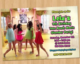 Teen Beach Movie Invitation - Teen Beach Movie Lela Teen Beach Movie Birthday Party Invite Printable Personalized Slumber Party Sleepover
